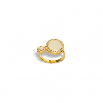 Ασημένιο δαχτυλίδι με μικρό και μεγάλο στρόγγυλο μοτίφ eed93411c9b
